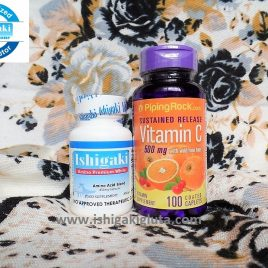Ishigaki Premium White 30 caps with Vitamin C 500mg 100caps FDA Approved Ishigaki Amino Premium White 30 caps This Amino Acid Proprietary Blend formula has a combination of L-GLUTATHIONE TRI-PEPTIDE FORM such as (L-cysteine HCL, L-glutamic acid, glycine) plus L-GLUTATHIONE BOOSTER (NAC, L-methionine, L-cysteine) and VITAMIN C. These raise glutathionelevels, which is an antioxidant that can neutralize free radicals that are harmful to our skin and immune system. The purpose of this blend is to make all amino acids readily available so the body can make Glutathione as needed. The combined efficacy of both glutathione and vitamin C gives you white and healthy glowing skin. Beautiful skin, firm nails and shiny hair are certainly symbols for health and natural beauty. To delay the aging process, a supply of certain amino acids and nutrients is important. The right amino acid blend acts like a repair treatment from within. The importance of amino acid supplies nutrients to nourish the skin, hair and nails from within. The body thus keeps the skin smooth and elastic, firm nails and strong shiny hair. This glutathione is an effective skin whitening solution. Vitamin C with Rosehips 500 mg 100 tablets Timed Release Vitamin C is not produced by the body on its own, so we need to get it from the foods we eat or supplements. Our Vitamin C plus Rosehips product supplies you with 500 mg per serving of this important vitamin and 5 mg of rosehips in a time-release coated caplets. Rosehips are vitamin c rich seeds that come from beautiful, beloved roses. Together they work synergistically to provide the most for your body! Serving Size: 1 Coated Caplet Servings Per Container: 100 Amount Per Serving % Daily Value (DV) Vitamin C (as Ascorbic Acid) 500 mg 833% Rose Hips (Rosa canina) (fruit) 5 mg * Other Ingredients: Hypromellose, Dicalcium Phosphate, Vegetable Stearic Acid, Silica, Talc, Vegetable Magnesium Stearate, Natural Palm Leaf Glaze. May contain Cellulose (Plant Origin), Sodium Chloride. Directions: For adults, take one (1) coated caplet one to four times daily, preferably with meals. WARNING: If you are pregnant, nursing, taking any medications or have any medical condition, consult your doctor before use. If any adverse reactions occur, immediately stop using this product and consult your doctor. If seal under cap is damaged or missing, do not use. Keep out of reach of children. Store in a cool, dry place. * Daily Value (DV) not established. These products are intended to support general well-being and are not intended to treat, diagnose, mitigate, prevent, or cure any condition or disease. Consult your physician before using this or any product if you are pregnant, nursing, trying to conceive, taking medication or have a medical condition.